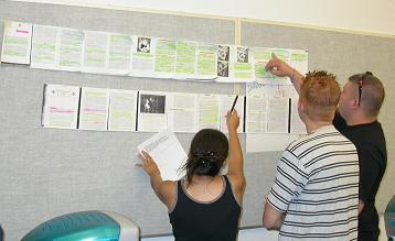 Photograph: Students in a community college study skills class use a scroll as a catalyst for discussion and an explicit model for how to think strategically about text.