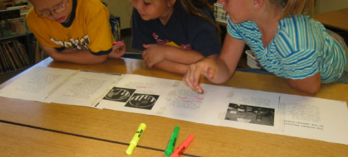 Photograph: Fourth and fifth grade students collaborate to map a difficult text.